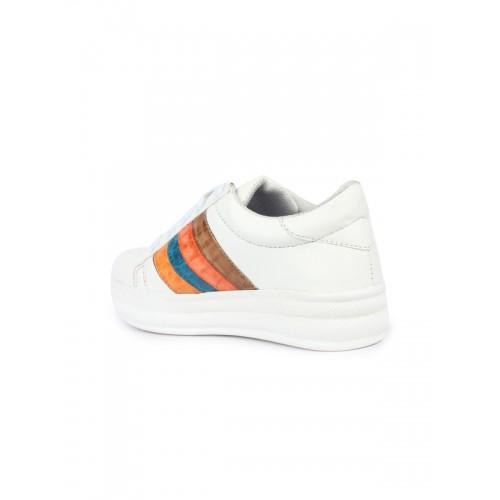 Shoetopia Women White Patterned Sneakers
