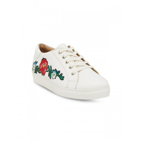 20Dresses Women White Sneakers with Floral Applique