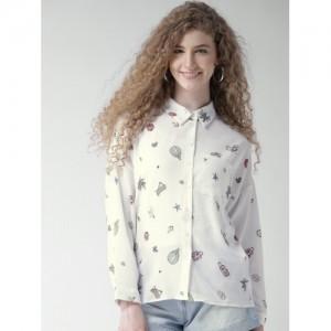 Forever 21 White Printed Shirt