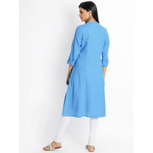 74f0abb2ca11 Buy RANGMANCH BY PANTALOONS Women Blue Solid A-Line Kurta online ...