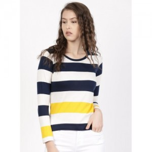 Ether White & Navy Striped T-Shirt