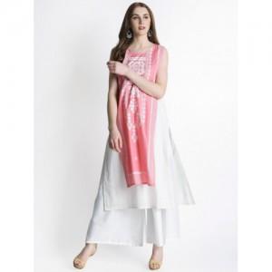 RANGMANCH BY PANTALOONS Women Pink & White Printed A-Line Layered Kurta