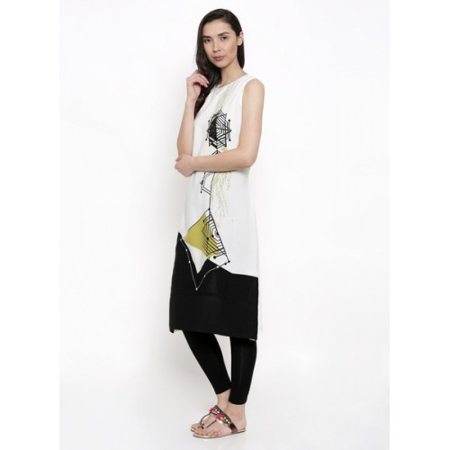Rangmanch By Pantaloons White Printed Kurta
