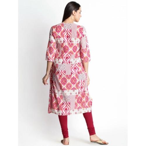 RANGMANCH BY PANTALOONS Women Pink & Beige Printed A-Line Handloom Kurta