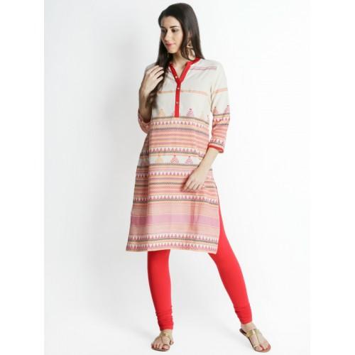 f18642df73b Buy RANGMANCH BY PANTALOONS Women Beige   Red Printed A-Line Kurta ...