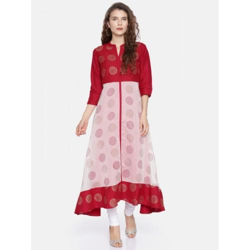 164c611acc2 ... RANGMANCH BY PANTALOONS Women Red   Off-White Printed A-Line Kurta ...