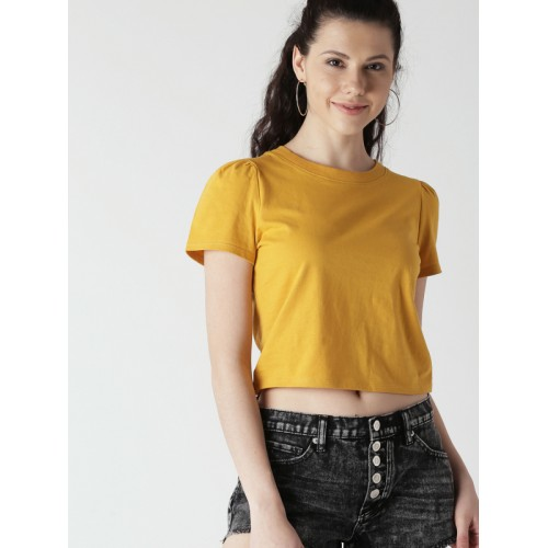 89229995932 ... FOREVER 21 Women Mustard Yellow Solid Round Neck Crop T-shirt ...