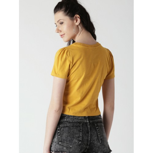 6fae700537e ... FOREVER 21 Women Mustard Yellow Solid Round Neck Crop T-shirt ...