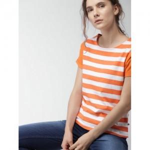 656cafa30d Buy FOREVER 21 Women Orange & White Striped Round Neck Crop T-shirt ...