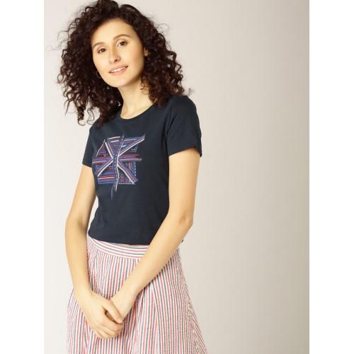 9b2d5600c23b3b Buy ESPRIT Women Navy Blue Printed Round Neck T-shirt online ...