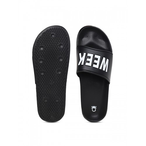 United Colors of Benetton Men Black Printed Sliders