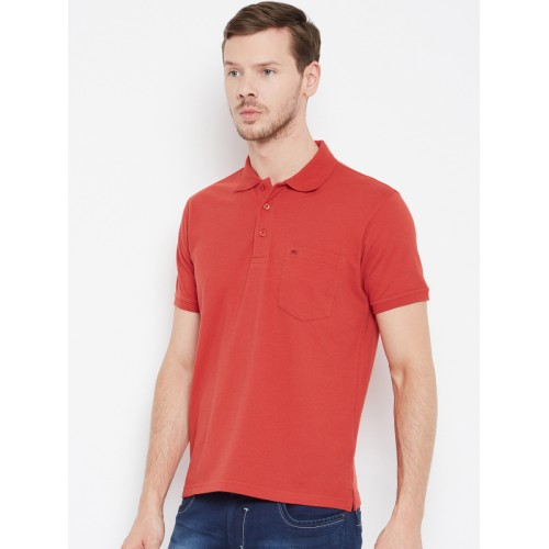 Monte Carlo Men Red Solid Polo Collar T-shirt