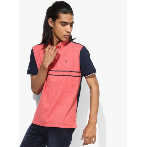Allen Solly Red Textured Regular Fit Polo T-Shirt