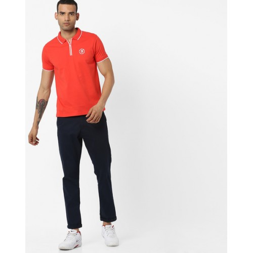 Pepe Jeans Red Solid Regular Fit Polo T-Shirt
