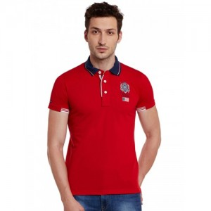 Duke Men Red Printed Polo Collar T-shirt
