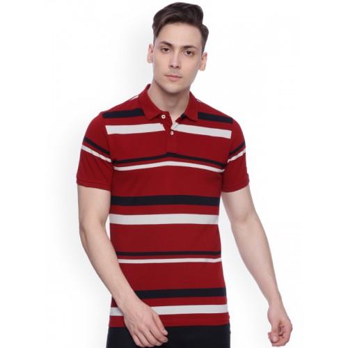 Basics Red Striped Polo T-Shirt
