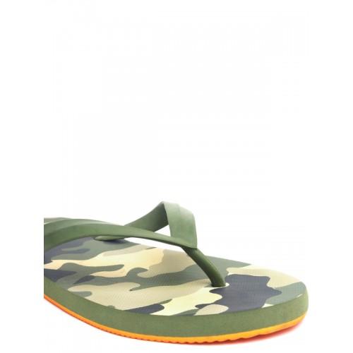 Flipside Men Green & Blue Printed Thong Flip-Flops