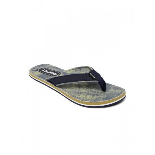 Duke Men Navy & Beige Flip-Flops with Washed Effect