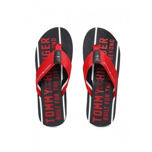 d1ef29dc6 ... Tommy Hilfiger Men Red   Navy Blue Printed Smart Beach Thong Flip-Flops  ...