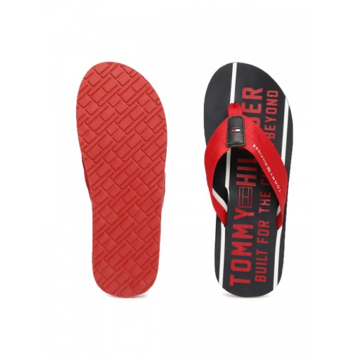 fab3943ba83e09 ... Tommy Hilfiger Men Red   Navy Blue Printed Smart Beach Thong Flip-Flops  ...