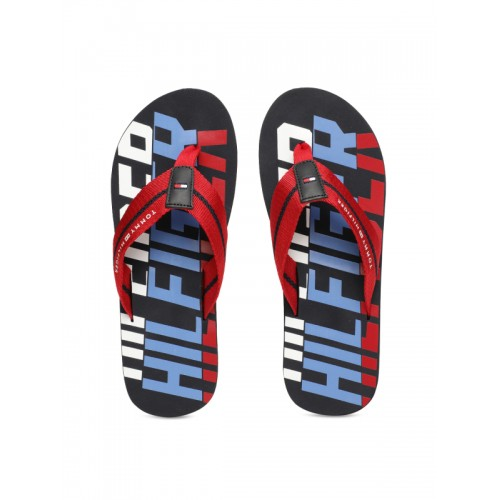 3ad80ae876e3d6 ... Tommy Hilfiger Men Red   Blue Printed Bold Hilfiger Beach Thong Flip- Flops ...