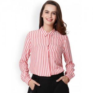 ONLY Women Red & White Regular Fit Striped Casual Shirt