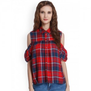 ONLY Women Red & Navy Regular Fit Checked Casual Shirt