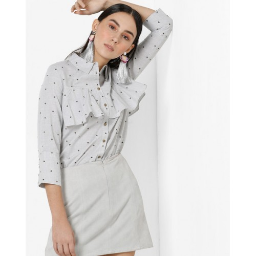 Only Printed Shirt with Ruffle Panels