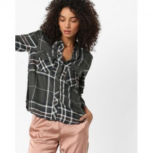 Only Checked Shirt with Embellished Flap Pockets
