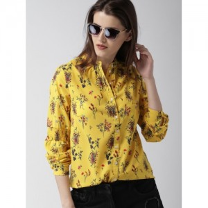 Mast & Harbour Women Yellow Regular Fit Printed Casual Shirt