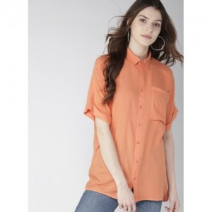 Mast & Harbour Coral Orange Regular Fit Solid Casual Shirt