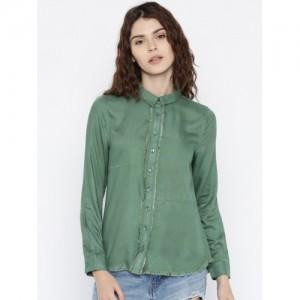 Mast & Harbour Women Green Regular Fit Solid Casual Shirt