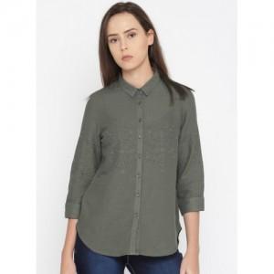 Mast & Harbour Mast & Harbour Women Grey Regular Fit Self Design Casual Shirt