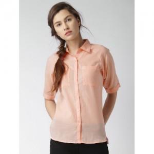 Mast & Harbour Peach-Coloured Casual Shirt