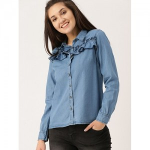 DressBerry Women Blue Regular Fit Solid Denim Casual Shirt