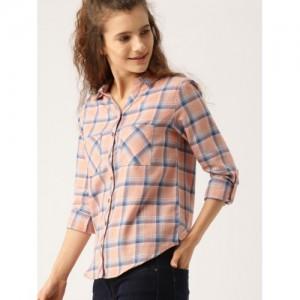DressBerry Women Peach-Coloured & Blue Regular Fit Checked Casual Shirt