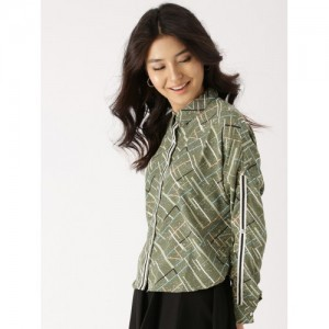 DressBerry Women Olive Green Printed Casual Shirt