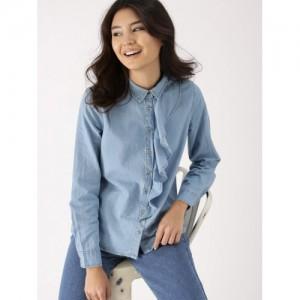 DressBerry Women Blue Solid Chambray Shirt