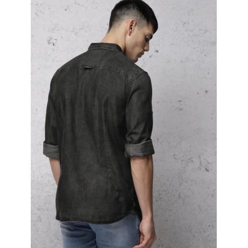 Ecko Unltd Men Black Slim Fit Faded Casual Shirt