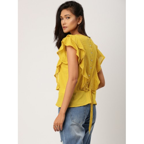 all about you from Deepika Padukone Women Mustard Self Design Styled Back Top