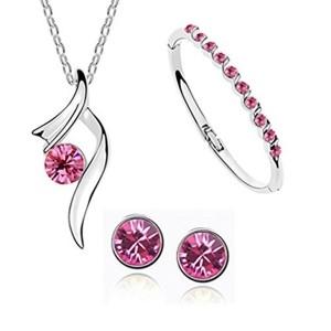 Habors Pink Austrian Crystal Trendy Pendant Set With Multicolor Bracelet