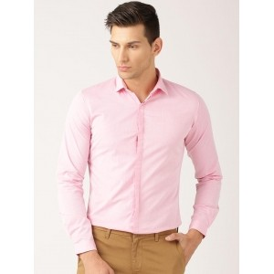ETHER Pink Solid Formal Shirt