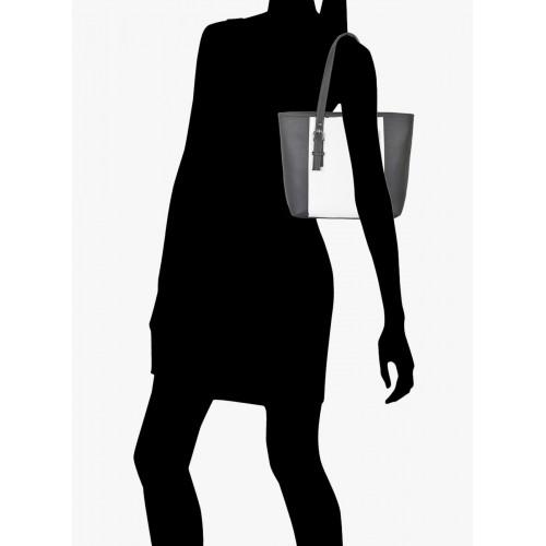 FOSTELO Black/White Polyurethane (Pu) Handbag