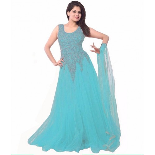 Clickedia  Sky Blue Embroidered  Net  Semi-Stitched  Gown