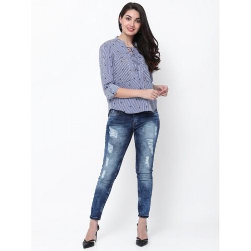 Tokyo Talkies Women Blue & White Regular Fit Striped Casual Shirt