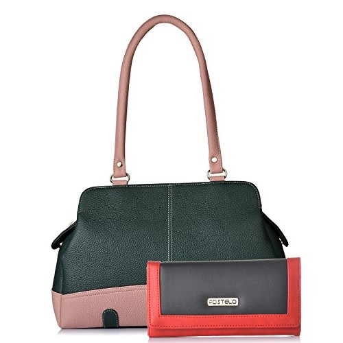 e5917f3af7a Buy Fostelo Black & Green Polyurethane Shoulder Bag & Clutch online ...