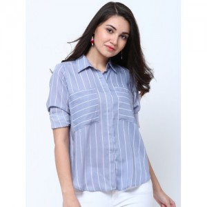 Tokyo Talkies Women Blue Regular Fit Striped Casual Shirt