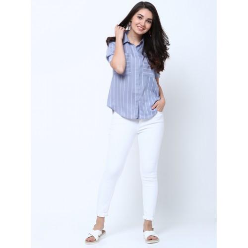 Tokyo Talkies Women Blue Regular Fit Striped Casual Shirt