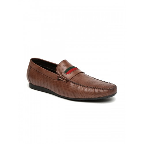 San Frissco Men Brown Perforated Loafers