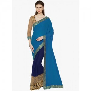 4d7ecf0ffd8 Indian Women By Bahubali blue georgette half and saree with blouse